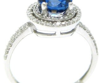 2.33tw ROUND cut medium blue SAPPHIRE & Diamonds engagement ring SA1800