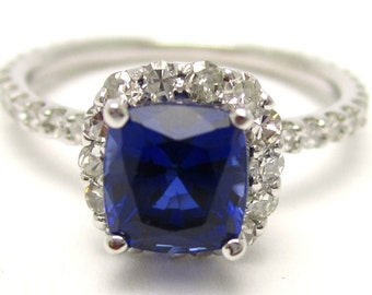2.10ctw faceted blue sapphire & diamonds engagement ring HARRY WINSTON style SA2700
