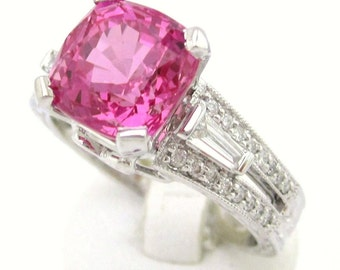 3.75ctw faceted PINK SAPPHIRE antique style diamond engaegment ring SA2000