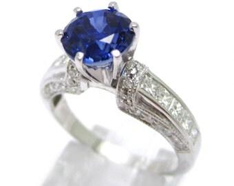 2.37ctw ROUND cutt medium blue SAPPHIRE & Diamonds engagement ring SA2100