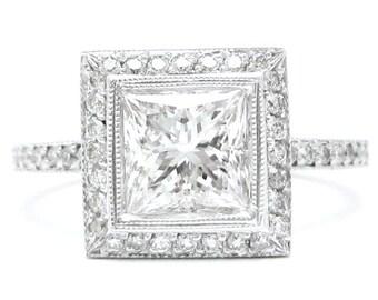 1.85ctw PRINCESS cut bezel set RITANI style diamond engagement ring 14k white gold