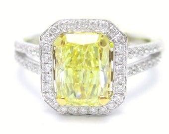 1.88ctw RADIANT cut FANCY YELLOW split shank diamond engagement ring 14k white gold