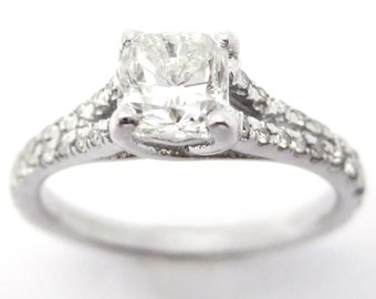 1.15ctw CUSHION cut split shank style diamond engagement ring C18