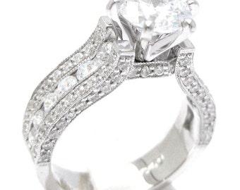 2.10ctw Round cut ANTIQUE STYLE diamond engaegment ring 14k white gold KR110