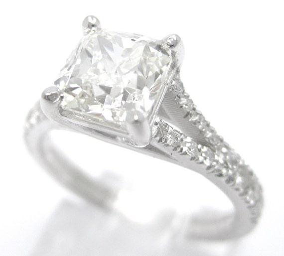 1.65ctw CUSHION cut split shank STYLE diamond engagement ring 14k white gold