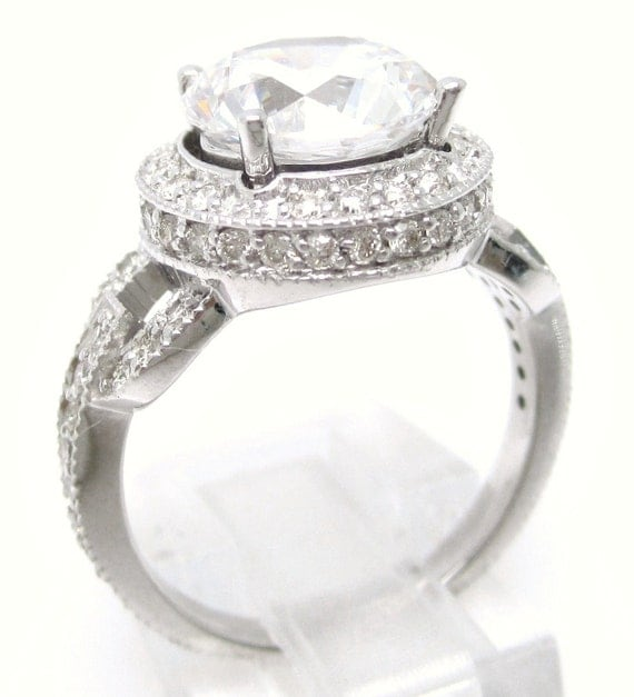 3.24ctw Round cut ANTIQUE style diamond engagement ring 14K white gold