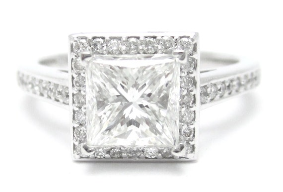 2.00ctw princess cut prong set antique style diamond engagement ring 14k white gold