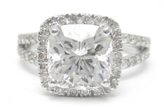 3.25ctw CUSHION cut split shank style diamond engagement ring 14k white gold