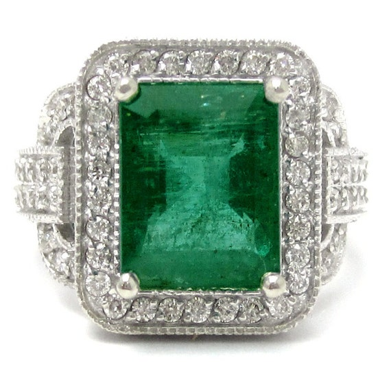 antique style emerald cut emerald diamonds engagement ring