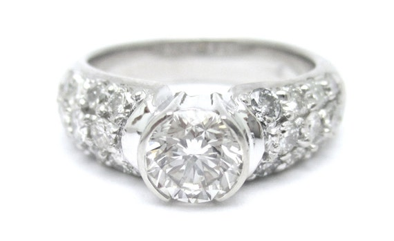 2ctw round cut semi bezel pave diamond engagement ring 14k white gold