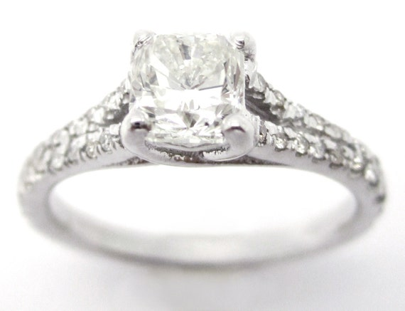 1.15ctw CUSHION cut split shank style diamond engagement ring C18