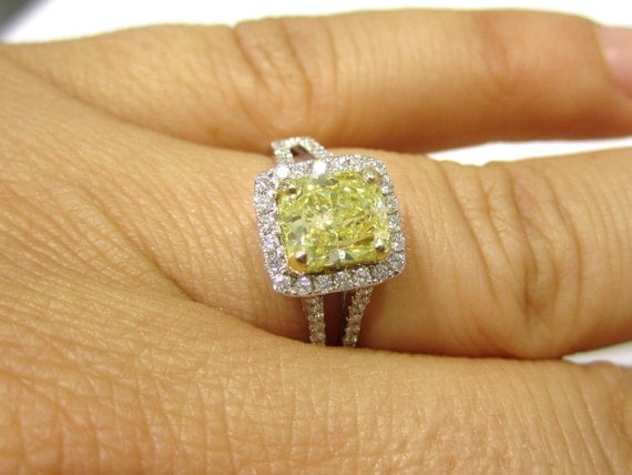2.00ctw CUSHION cut FANCY YELLOW split shank diamond engagement ring 14k white gold