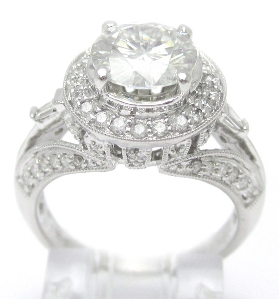 7.5mm Charles & Colvard created moissanite and diamonds antique style engagement ring R169