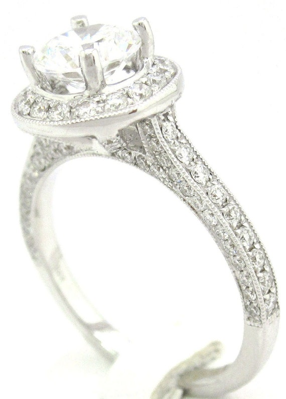 1.87ctw round cut three sided antique style diamond engagement ring R171