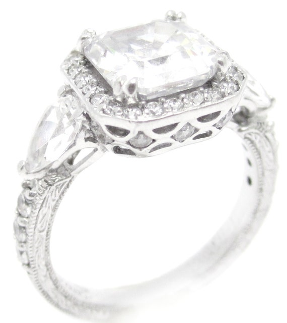 3.80ctw ASSCHER CUT antique style diamond engaegment ring A33