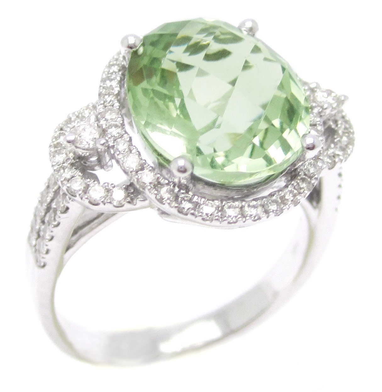5 18ctw Oval Cut Light Green Topaz Amp Diamonds Engagement Ring
