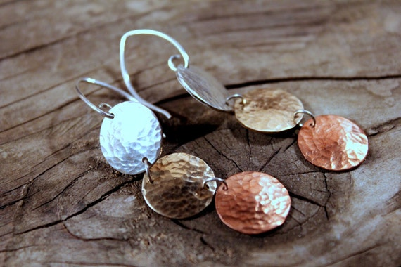 Triple Dome Combo Dangle  earring