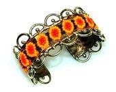 Spectacular Huichol Handmade Cuff Bracelet
