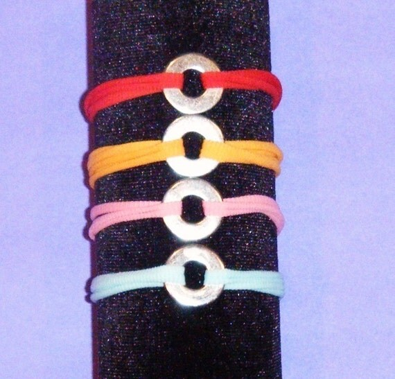 25 Stretch Nylon Chokers with Washers for Bottle Cap BRACELET