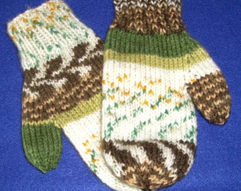 Ladies Mittens in Shades of Green, Brown, and White Self Pattern Acrylic Yarn