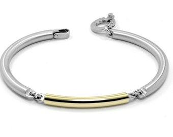 Stainless Steel and Gold Bangle Cuff Mens Bracelet