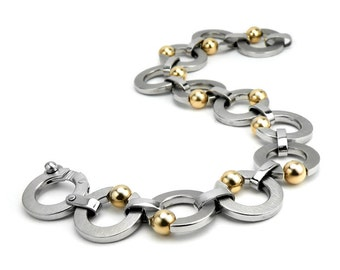 Stainless Steel Link Bracelet Tension Set Gold Spheres