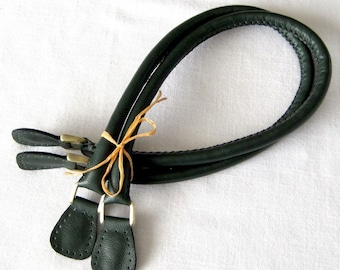 Leather Bag Handles - Handmade in Forest Green.