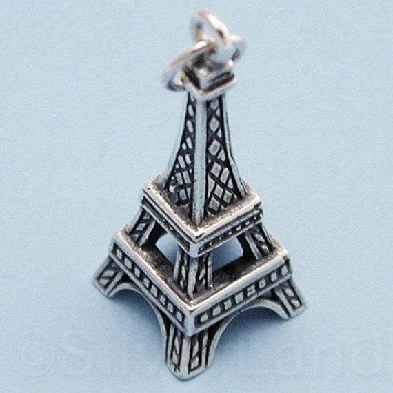 SALE - 1 Sterling Silver Eiffel Tower Charm -- (SCMA755)