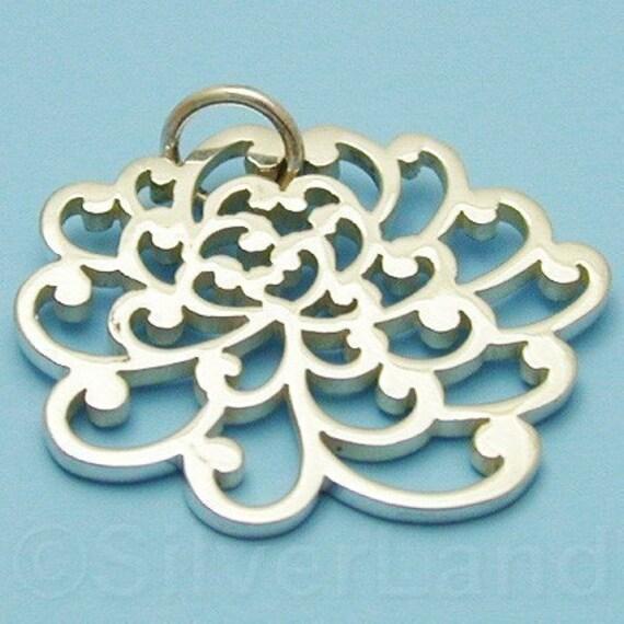 1 Sterling Silver Chrysanthemum Charm -- (SCMA707)