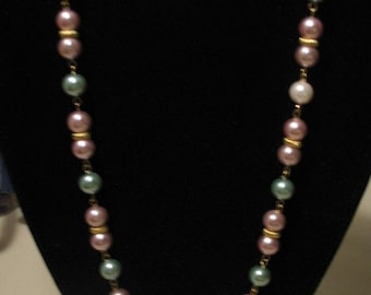 Necklace - Mauve and Moss Green N0045