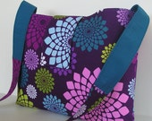 Messenger Bag / Crossbody Bag in Purple and Teal