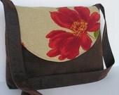 Messenger Bag / Crossbody Bag / Laptop / Diaper Bag in Rustic Poppy