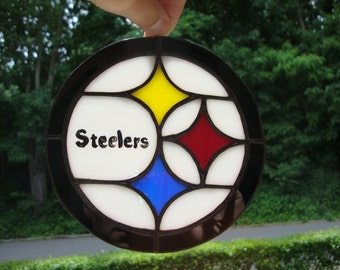 Stained glass Pittsburgh Steelers logo suncatcher