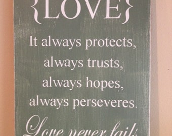 "Love Never Fails - Hand Painted Wood Sign - 12""x15"""