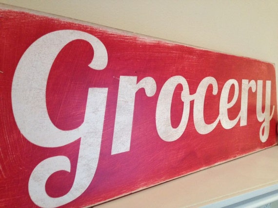 "Vintage Distressed Grocery Sign -  Hand Painted Wood - 9""x28"""