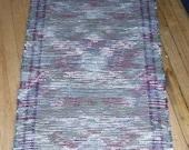 Handwoven Rag Rug Hallway Runner - Grey, Burgundy, White (Inv. ID 3-0460)