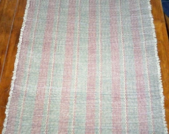 Rag Rug, Recycled Fabric, Handwoven - Pastel Green w/ Wine, Hunter Stripes (Inv. Id 02-0661)