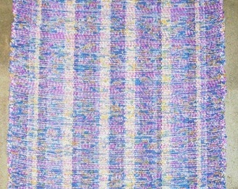 Rag Rug, Handwoven - Blue, Rose w\/ Yellow (Inv. ID 1-1280)