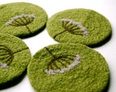 Felted Coasters, Wool, Queen Anne's Lace in Lime Green, Set of 4