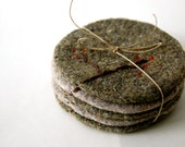 Felted Wool Coasters - Set of Five - Branch and Berry in Light Gray and Moss