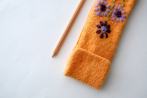 Felted Pencil Case - Mustard Yellow Wool with Flower Embroidery