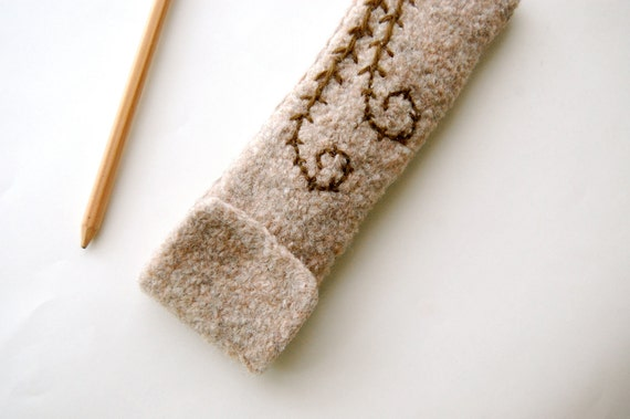 Felted Pencil Case - Light Gray Wool with Fern Embroidery