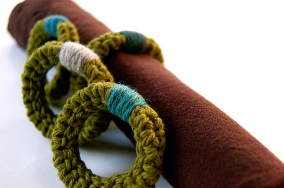 Crocheted Napkin Rings, Cotton in Spring Green with Teal Accents