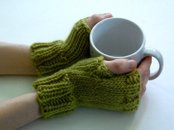 Green Fingerless Mittens, Hand Knit in Wool