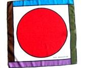Elio Berhanyer Neck Scarf Neckerchief Geometric Design Circle Square Red Purple Green Aqua Brown