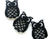 Vintage Owl Trivets Cast Iron Hot Plates Black Set of Three