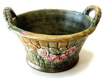 Vintage Jardiniere Planter Weller Flemish Basket Handles 1900s