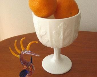 Vintage Milk Glass Goblet Compote Pedestal Chalice Fern Leaf Design 1970s