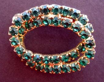 Vintage Christmas  Pin Brooch Rhinestone Double Wreath Emerald Green  Oval