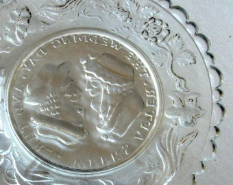 Vintage Cup Plate Pressed Glass Mini And Three Days After the Wedding EAPG New England 1850  1870